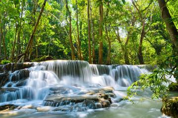 Huai Mae Khamin waterfall at Kanchanaburi , Thailand , beautiful waterfall, forest, waterfall with...
