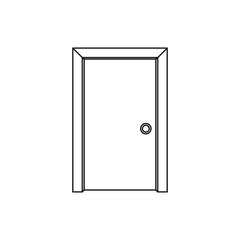 Door icon. Black and white icon. Enter or exit symbol.