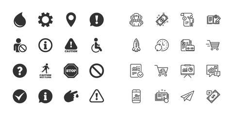 Set of Attention, Information and Caution icons. Question mark, warning and stop signs. Injury, disabled person and tick symbols. Paper plane, report and shopping cart icons. Group of people. Vector