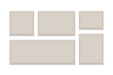 Blank Postage Stamps Frames Set isolated on background. Vector illustration. Eps 10