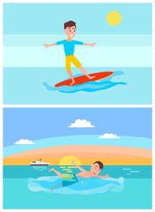 Surfing and Summer Activities Vector Illustration