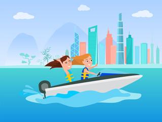 Boating Activity in Summer Vector Illustration