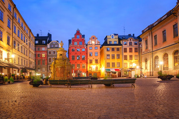 Famous colorful houses on Stortorget square, Gamla Stan in Old Town of Stockholm, the capital of Sweden