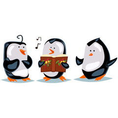 Caroling illustration with cartoon penguins. Vector Christmas illustration with cute animals isolated on a white background.