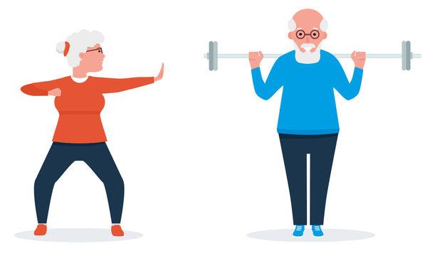 Senior couple exercise together. Vector illustration in cartoon flat style. Isolated on white background.