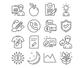 Set of Presentation, Creativity and Keywords icons. Rfp, Education and Edit document signs. T-shirt design, Line chart and Accounting report symbols. Education board, Design idea, Marketing strategy