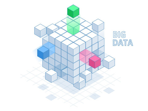 Isometric Abstract Big Data Cube, Box Data. Science and technology. Vector illustration.