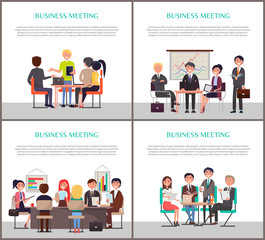 Business Meeting Banners with People around Table