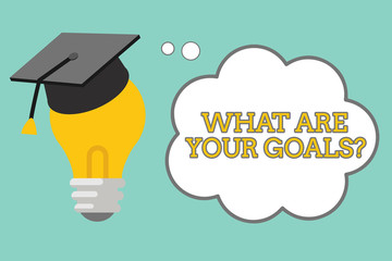 Word writing text What Are Your Goals question. Business concept for ask the Desired End Results to know the plans.