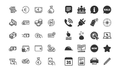 Money line icons. Set of Credit card, Cash and Coins signs. Banking, Currency exchange and Cashback service. Wallet, Euro and Dollar symbols. Information, calendar and call phone icons. Vector
