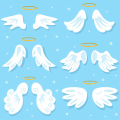 Cute angel wings. Cartoon vector set on blue background.