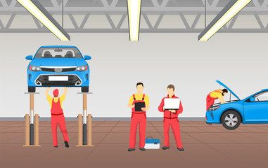 Auto Service in Spacious Garage Vector Banner