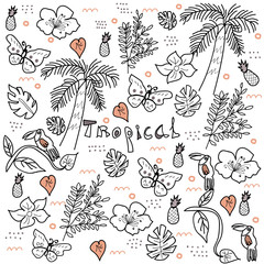 Tropical jungle doodle style vector.