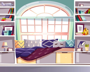 Bay bow window seat at home library vector illustration. French Provence style interior and furniture design of bookshelf with comfortable couch with blankets, pillows and lamp