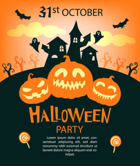 Halloween party invitations or greeting cards with traditional symbols.