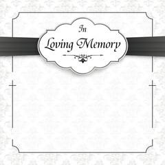 Cross Ornaments Obituary Frame Emblem Ribbon Wir Trauern
