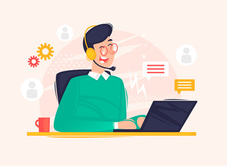 Online support, 24 hours, man answers questions. Flat design vector illustration