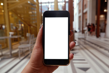 woman's hands holding smart phone with blank copy space screen for your text message or information content, female reading text message on cell telephone