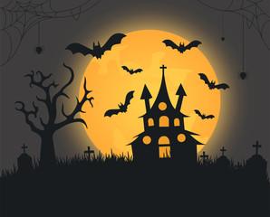 Scary dark halloween background bats