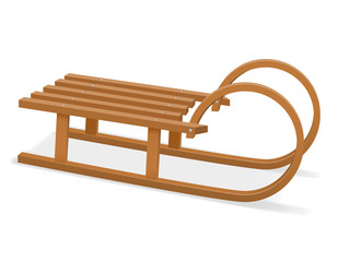 childrens wooden sleigh stock vector illustration