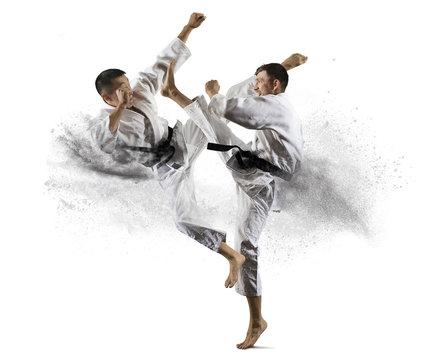 Martial arts masters, karate practice