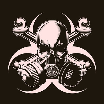 Human skull in gas mask with crossed bones and biohazard sign. Vector illustration. Print vector design. Premium quality superior skull concept. Shabby t-shirt and hoodie emblem