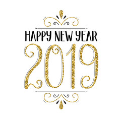 HAPPY NEW YEAR 2019 hand-lettered card in gold and black