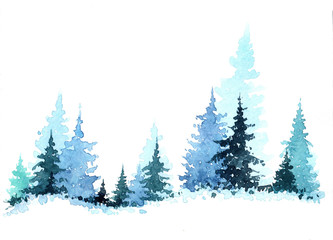 Watercolor hand drawn illustration with Winter Forest. Winter Landscape with Christmas trees. Christmas card
