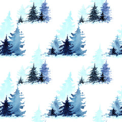 Watercolor seamless pattern with Winter Forest. Winter Landscape with Christmas trees. Christmas card