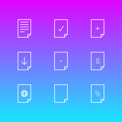 Vector illustration of 9 paper icons line style. Editable set of file, contract, download and other icon elements.