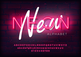 New modern neon set glowing alphabet with numbers. Isolated luminescent font on brick wall background. Vector illustration