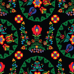 Background with Hungarian folk patterns for the design of textiles, the printing industry and variety of design projects