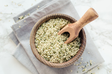 Fotobehang Kruiderij Organic hemp seeds