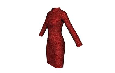 Rotes langärmeliges Kleid