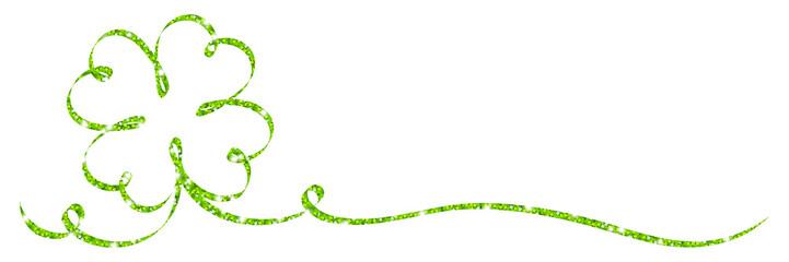Single Green Cloverleaf Ribbon Glitter Calligraphy