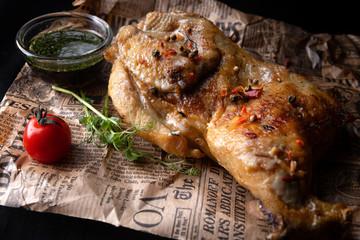 Half grilled chicken with sauce