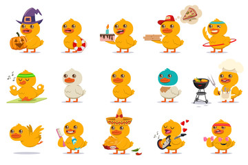 Cute baby duck set. Vector cartoon character of funny bird with different kawaii emotions and costumes isolated on a white background.