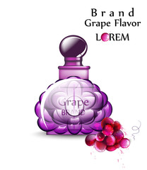 Perfume or potion Vector realistic. Grapes flavor. Product placement mock up bottles. Original stylish 3d illustrations