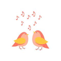 Love birds singing, greeting card, invitation, for printing on a t-shirt. Cartoon vector illustration.