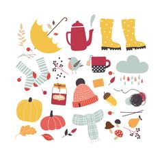 Cute vector autumn attributes