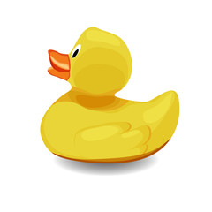 Rubber bath duck isolated on white background.