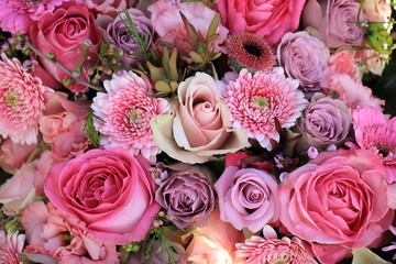 Mixed pink wedding flowers