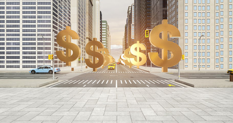 US Dollar Sign In The City - Business Related Aerial 3D City Flight