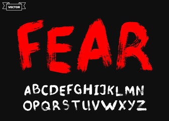 Hand drawn font. Grunge style. Scary alphabet. Brush painted letters. Lettering.