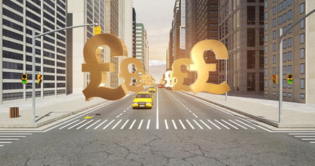 British Pound Sign In The City - Business Related Aerial 3D City Flight