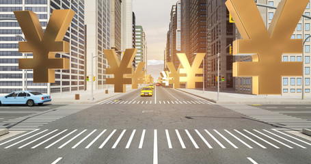 Japanese Yen Sign In The City - Business Related Aerial 3D City Flight