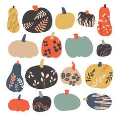 Autumn pumpkin collection in vector.