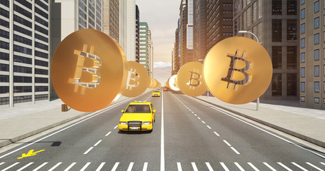Bitcoin Sign In The City - Digital Currency Related Aerial 3D City Flight