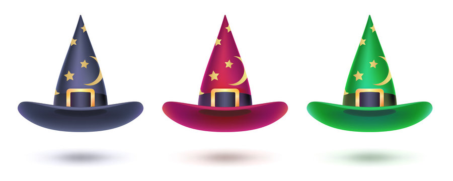 Set of witch hat with golden stars pattern. Design elements isolated on white for Halloween events, 3d illustration. Vector halloween symbol for covers, leaflets, banners