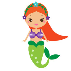 Cute Mermaid. Cartoon character in kawaii style